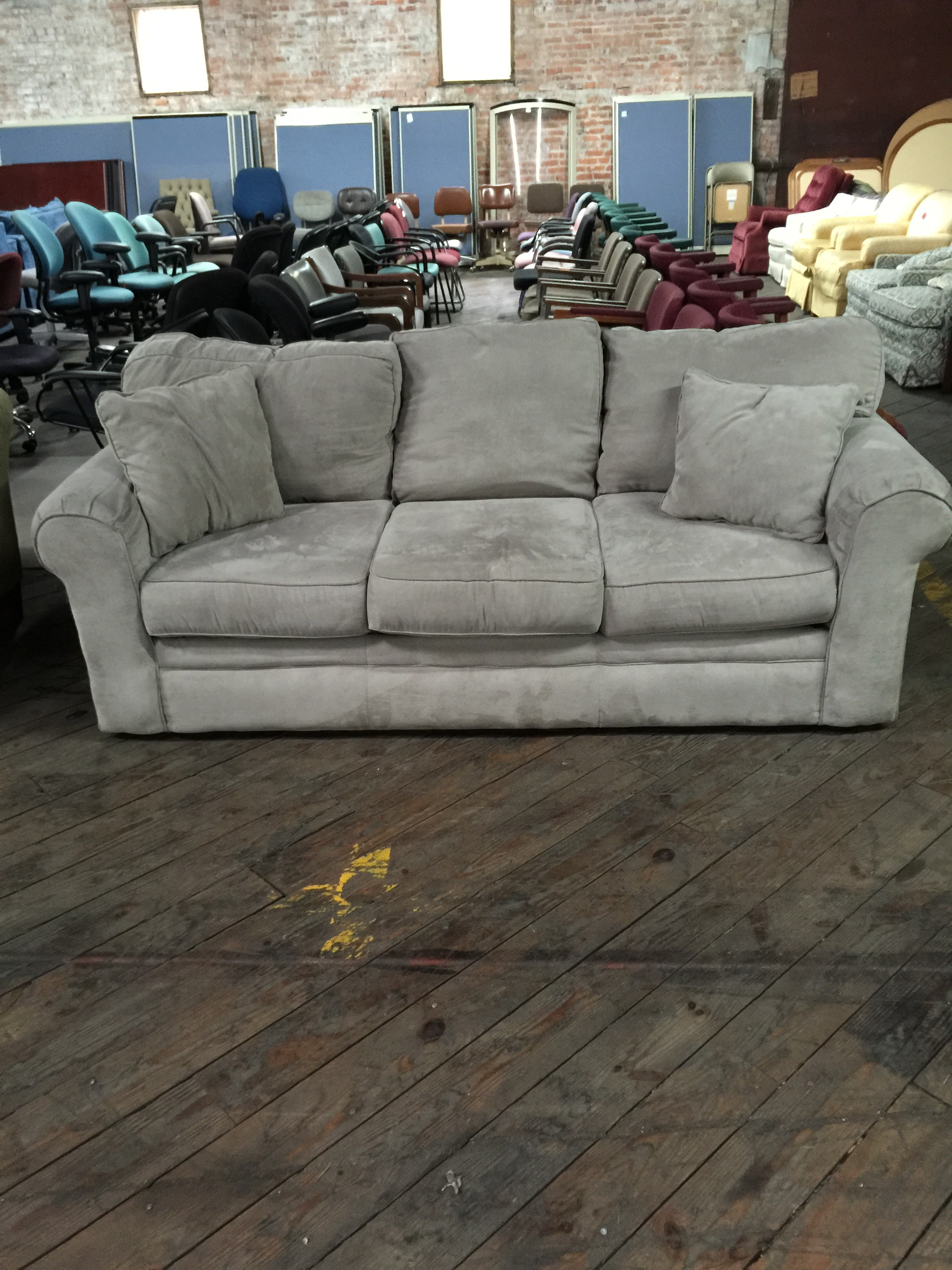 Grey Couch with Accent Pillows