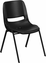 880lb Capacity Black Ergonomic Shell Stack Chair