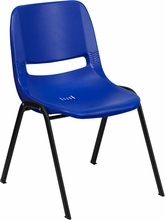 880lb Capacity Blue Ergonomic Shell Stack Chair