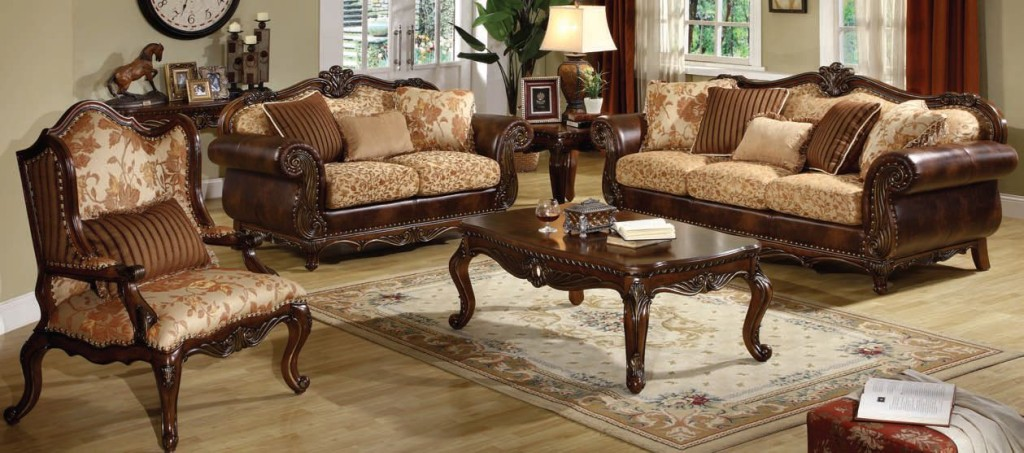 Remington Cherry Cream Fabric Wood 3pc Living Room Sets Part 77