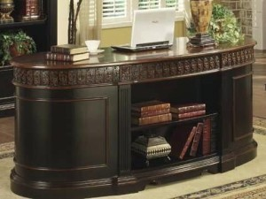 Traditional Brown Two Tone Oval Desk