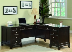 Transitional Cappuccino L Shaped Desk